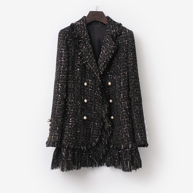 Black Tweed Jacket Double row pearl buckle Long 2019 Fall/Winter Ladies Coat Sparkle Sequin Fabric Burst  Lady Jacket
