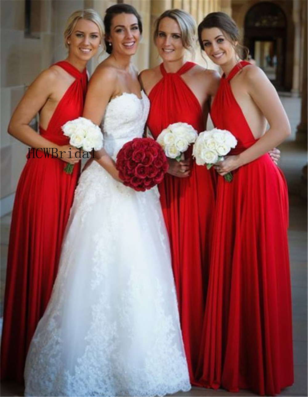 2019 High Quality Red Long   Bridesmaid     Dresses   Halter Backless A Line Floor Length Elastic Satin Cheap Maid Of Honor   Dress
