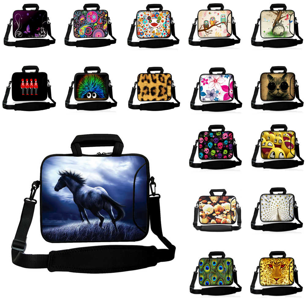 "Tahan Air Neoprene Bahu Laptop Notebook Tas 10 ""Tablet 10.1 12 12.1 13.3 13 14 15.6 16 17 Messenger Netbook tas Tas"