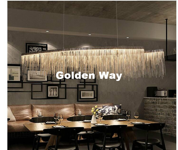 Free Shipping Modern Aluminum Chain Meteor Shower LED Pendant Light Restaurant Dining Room Silver Creative Hanging Pendant Lamp