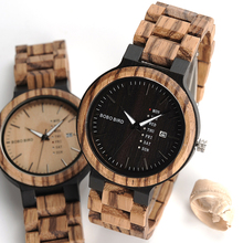 2017 BOBO BIRD Brand Calendar Watch With Quartz Movement And Wooden Strap Wristwatches Dress Watch relogio B-O26