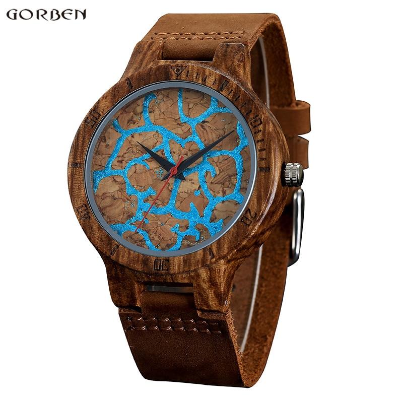 Gorben 056 Unique Men Wood Watch for Male New Fashion Blue Crack Design Genuine Leather Bamboo Wood Men Analog Quartz Wristwatch одежда из меха blue stone in autumn 056 2015