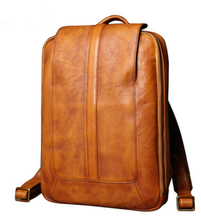 Vintage Men Genuine Leather Backpacks Simple Male Preppy Style High Quality Casual Travel Laptop Bags Youths School Bags D630 high quality england vintage style genuine leather men backpacks for college school backpacks for 14 inch laptop bags 9024