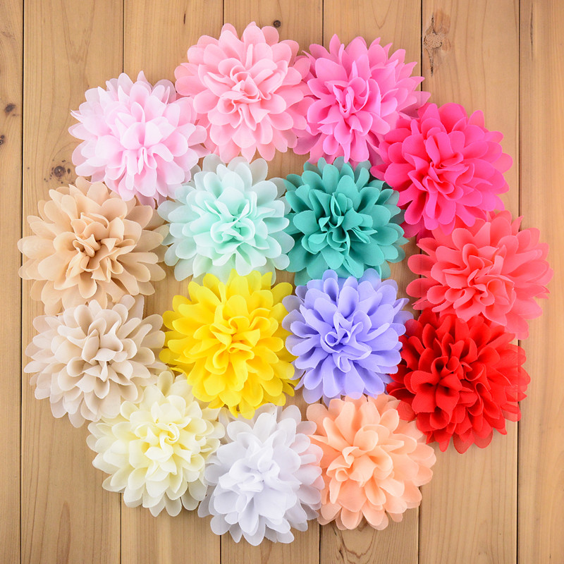 120pcs lot High Quality 4 Chiffon Flowers girls Headdress Flowers 32 Colors For Choose freeshipping FH03