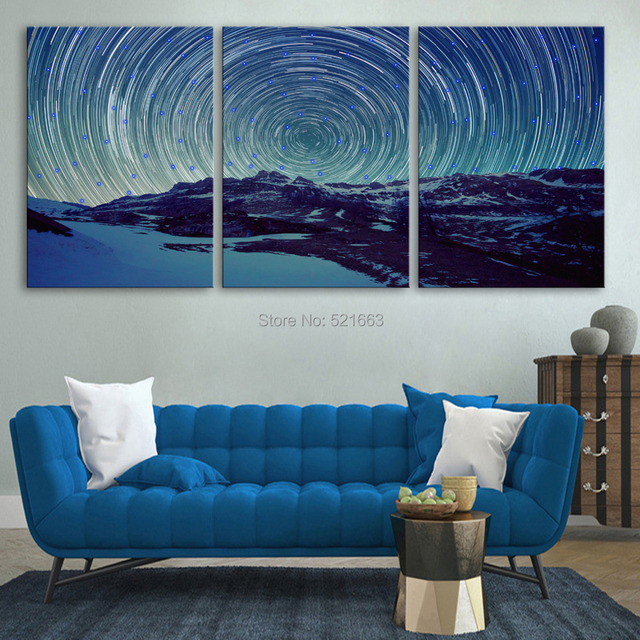 Stretched Canvas Prints Mountains And Sky LED Flashing Optical Fiber ...