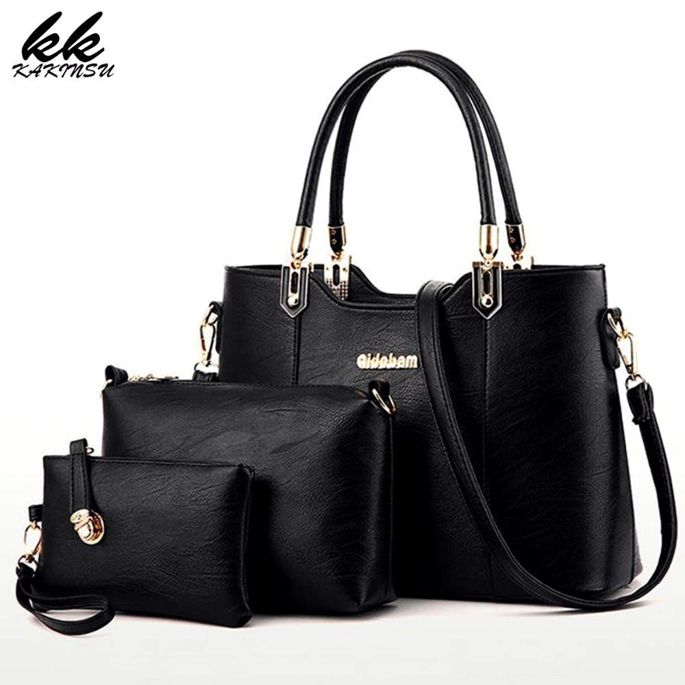 New Fashion Composite Bags 2017 Women Messager Bags High Quality PU Leather Top Handle Bag 3