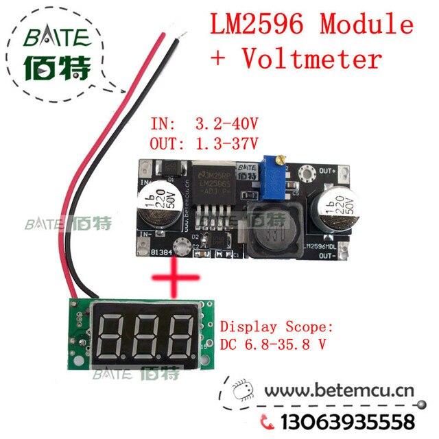 DC - DC adjustable regulated power supply module, LM2596 voltage regulator module, voltmeter display, digital tube