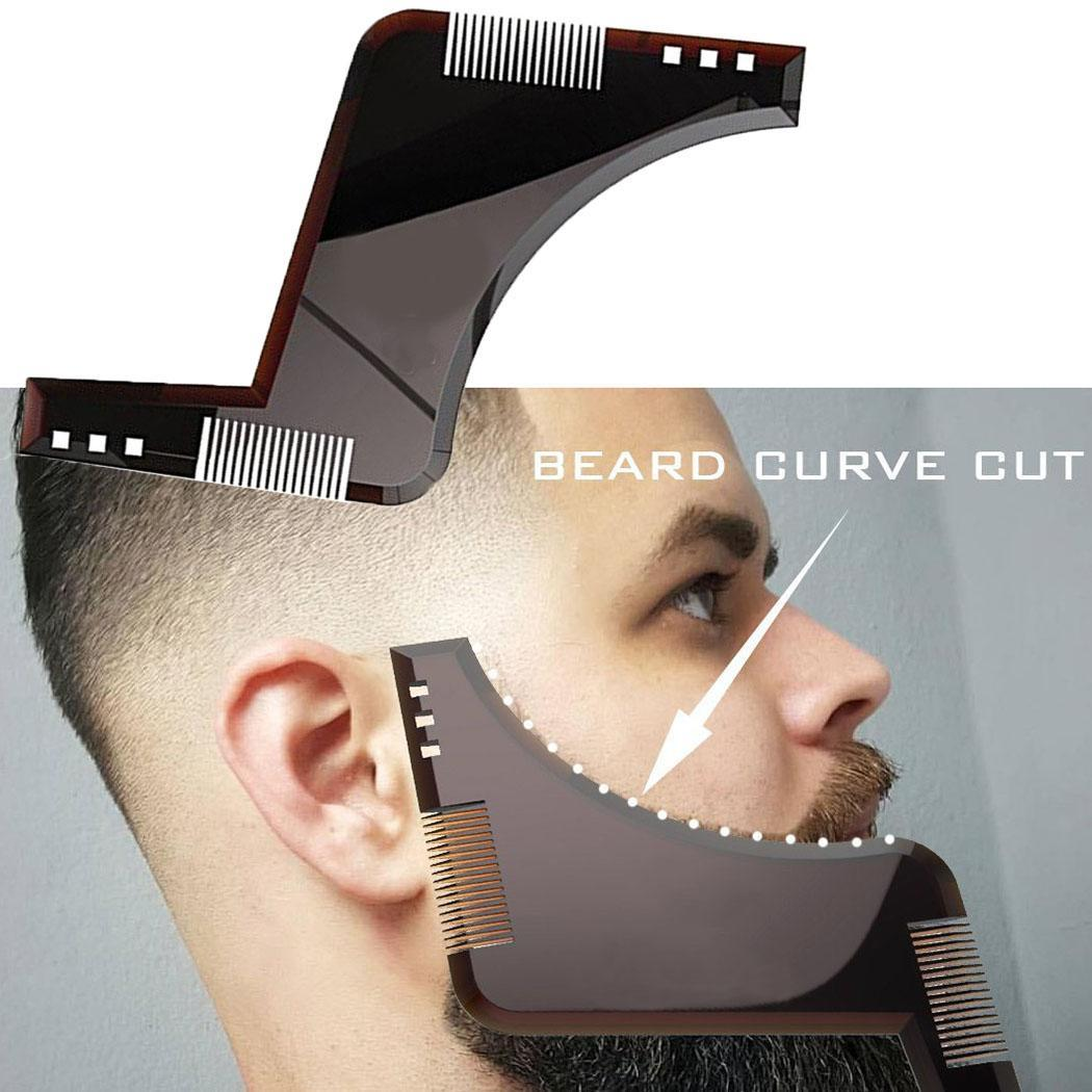 Double-side Beard Shaping Styling Template Comb Men's Quality Beard Brown Trim Shaving ABS Comb Beauty Tool For Hair Beard Combs