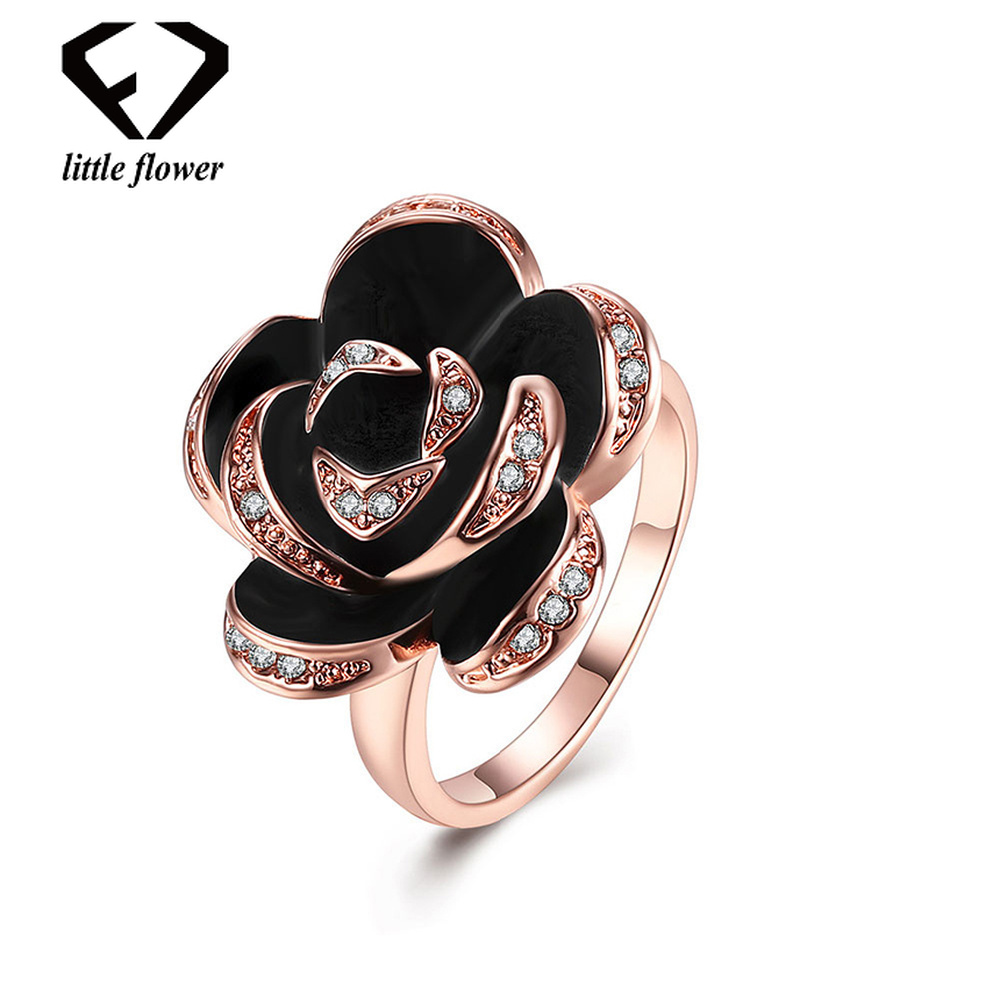 18K Rose Gold Green Alloy Oil Drip Style Simulation Rose Ring for Women European and American Trendy Fine Jewelry Geometric Type delicate alloy faux sapphire geometric ring for women