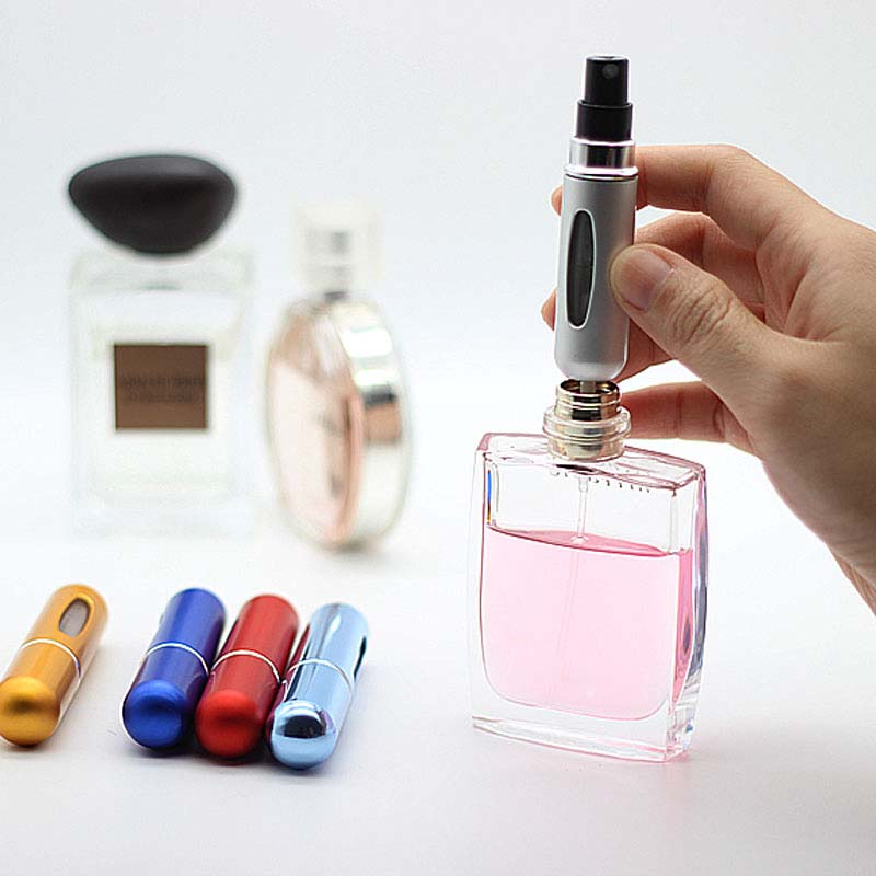 Dropshipping Cosmetic Bottle Aluminum 5ml Rechargeable Metal Perfume Bottle Portable Makeup Bottle 13 Color Optional