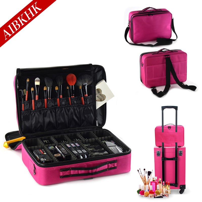 Women Fashion Cosmetic Bag Travel Makeup Organizer Professional Make Up Box Cosmetics Pouch Bags Beauty Case For Makeup Artist 2018 travel cosmetic bag packing cubes print makeup bags beauty case two tier cosmetics box waterproof organizer bag