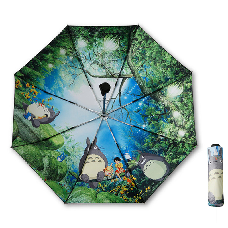 Preto Totoro Ghibli Anime Sun Umbrella Parasol do Guarda-chuva Das Mulheres do Sexo Feminino Plegable Sombrillas Parapluie Guarda Chuva Paraguas Totoro