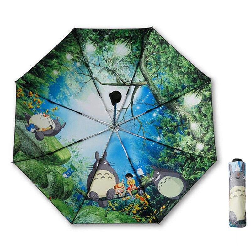 Sombrilla negra Ghibli Totoro Paraguas mujer Anime sol sombrilla mujer Plegable Sombrillas Paraguas Guarda Chuva Totoro Parapluie