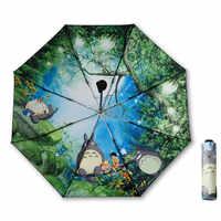 Sombrilla negra Ghibli Totoro para mujer, sombrilla de Sol de Anime, sombrilla Plegable para mujer, Paraguas, Guarda Chuva Totoro Parapluie