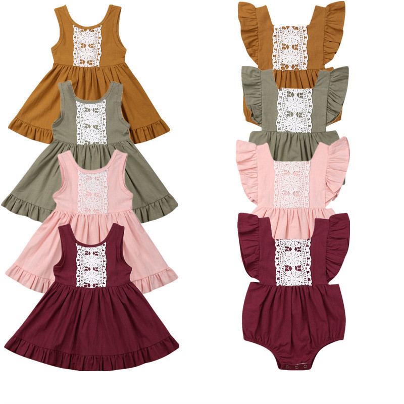 Dress Romper Outfits-Set Matching Toddler Baby-Girl Kids Sleeveless Lace Baptism