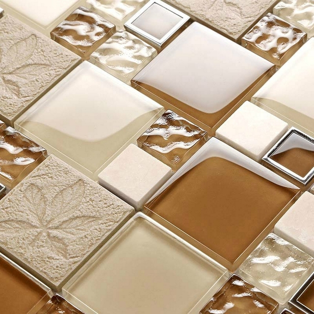 shine light brown color leaf crystal glass mosaic tiles. Black Bedroom Furniture Sets. Home Design Ideas