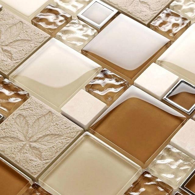 Shine Light Brown Color Leaf Crystal Glass Mosaic Tiles