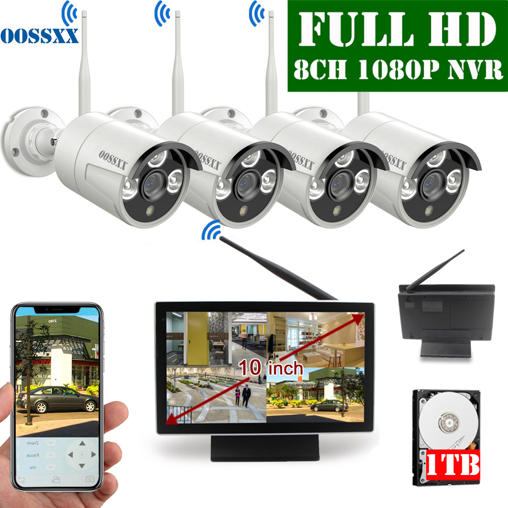 OOSSXX 8CH 1080P Wireless NVR Kit 10'' Monitor Wireless CCTV 4pcs 1080P Indoor Outdoor IP66 Camera Video Surveillance System