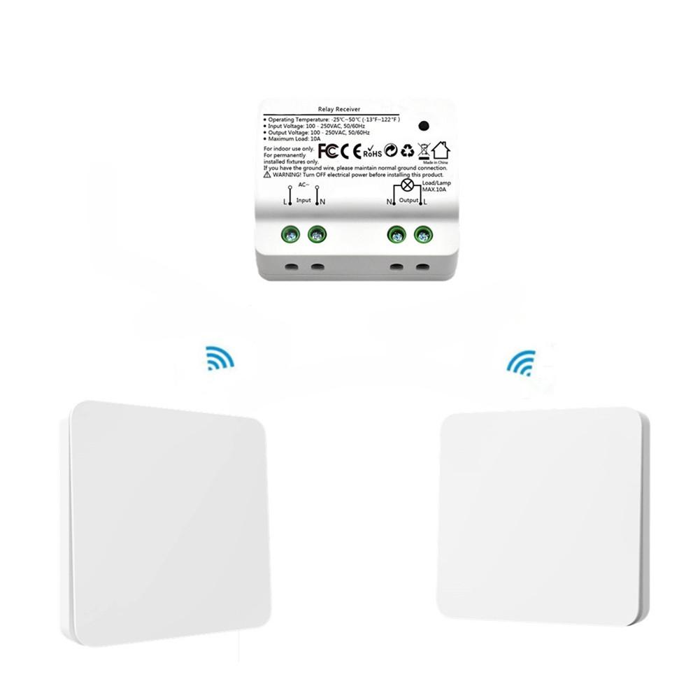 2 IN 1 AC 110-250V Smart RF Intelligent Kinetic Wireless Switch Self-generating Relay Receiver Double-Sided Tape Screw Driver