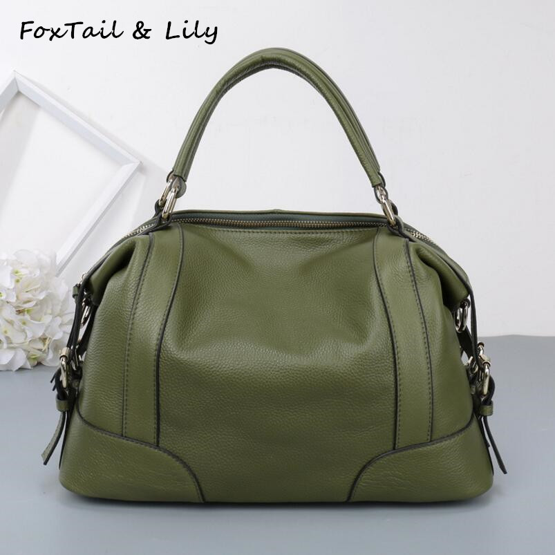 ФОТО FoxTail & Lily Women Real Leather Bag Fashion Designer Handbags High Quality Genuine Leather Ladies Shoulder Messenger Bags
