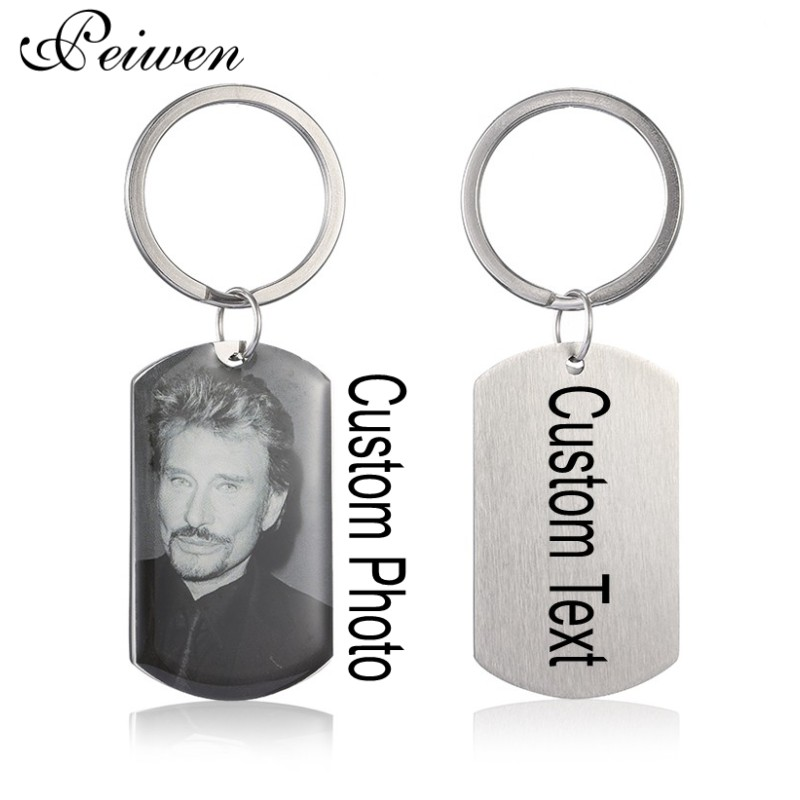 Custom Keychain Personalized Customized Photo Engrave Keychains Stainless Steel Keyring Charm Key Chain Mothers Fathers Day Gift