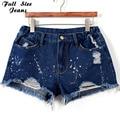 Plus Size Blue Denim Shorts 4Xl Xl 5Xl Sexy Women Summer Hole Destroyed Shorts Jeans Oversized Casual Jeans Short Feminino