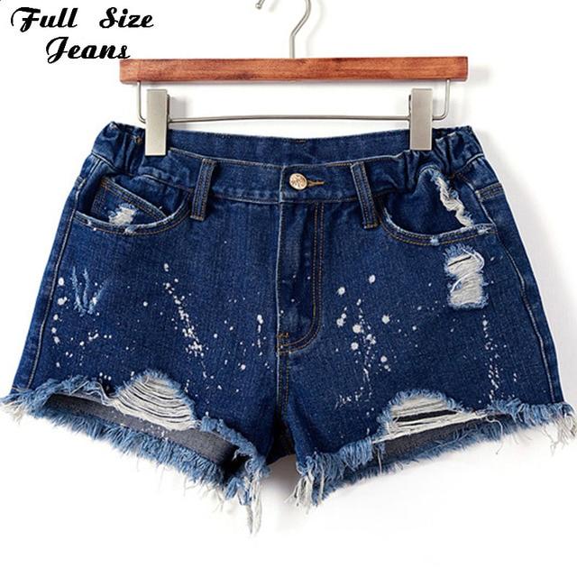 d268d1f357756 Plus Size Blue Denim Shorts 4Xl Xl 5Xl Sexy Women Summer Hole Destroyed Shorts  Jeans Oversized