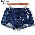 Tamaño más Pantalones Cortos de Mezclilla Azul 4Xl Xl 5Xl Mujeres Atractivas Del Verano Agujero Destruido Shorts Jeans de Gran Tamaño Casual Jeans Cortos Feminino