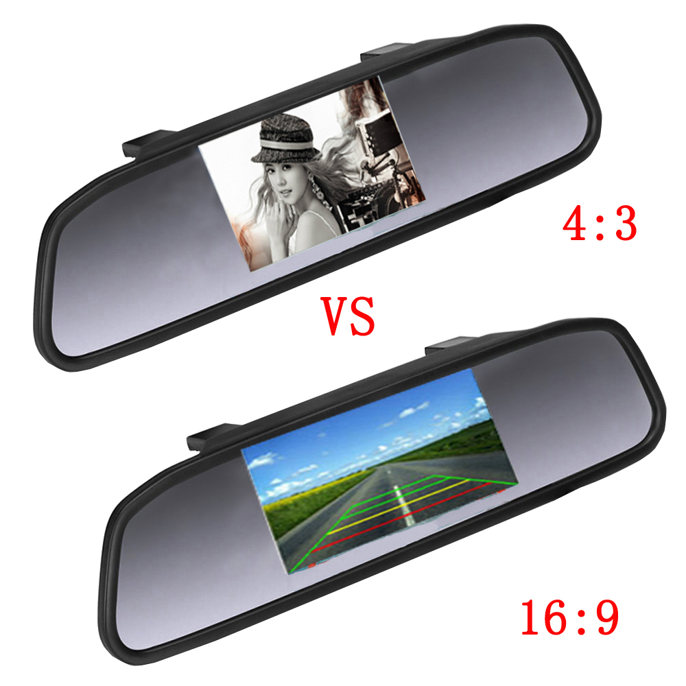 Image 3 - AMPrime 4.3 inch Car HD Rearview Mirror Monitor CCD Video Auto Parking Assistance LED Night Vision Reversing Rear View Camera-in Car Monitors from Automobiles & Motorcycles