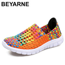 BEYARNESummer נעליים יומיומיות עבור אישה 2019 חדש עבודת יד אמא ארוג Shoesbreathable ופרס להחליק על FemaleFlatsE406
