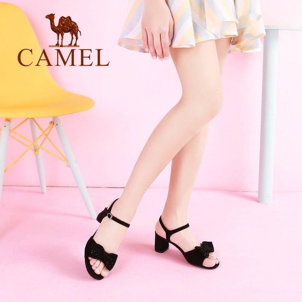 in alto alla Donna Scarpe vera Punta Nero caviglia Cammello elegante Cristallo Sandali Farfalla rosa Fibbia Cravatta pelle Tacco Nuove donne Moda eleganti UXxxqw0PzI