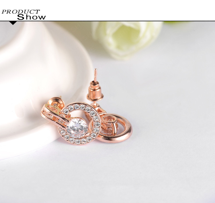 Wedding Jewelry Sets Rose Gold Color NecklaceEarring Nexa