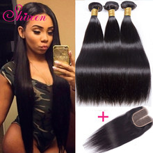 Shireen Brazilian Straight Hair Bundles With Closure 3 Bundles With Closure 4pcs Brazillian Hair Weave Bundles With Closure Remy(China)