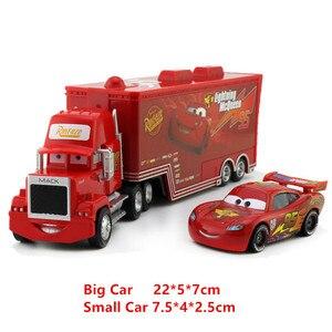 Image 3 - Disney Pixar Autos 21 Stile Mack Lkw + Kleine Auto McQueen 1:55 Diecast Metall Legierung Und Kunststoff Modle Auto Spielzeug geschenke Für Kinder