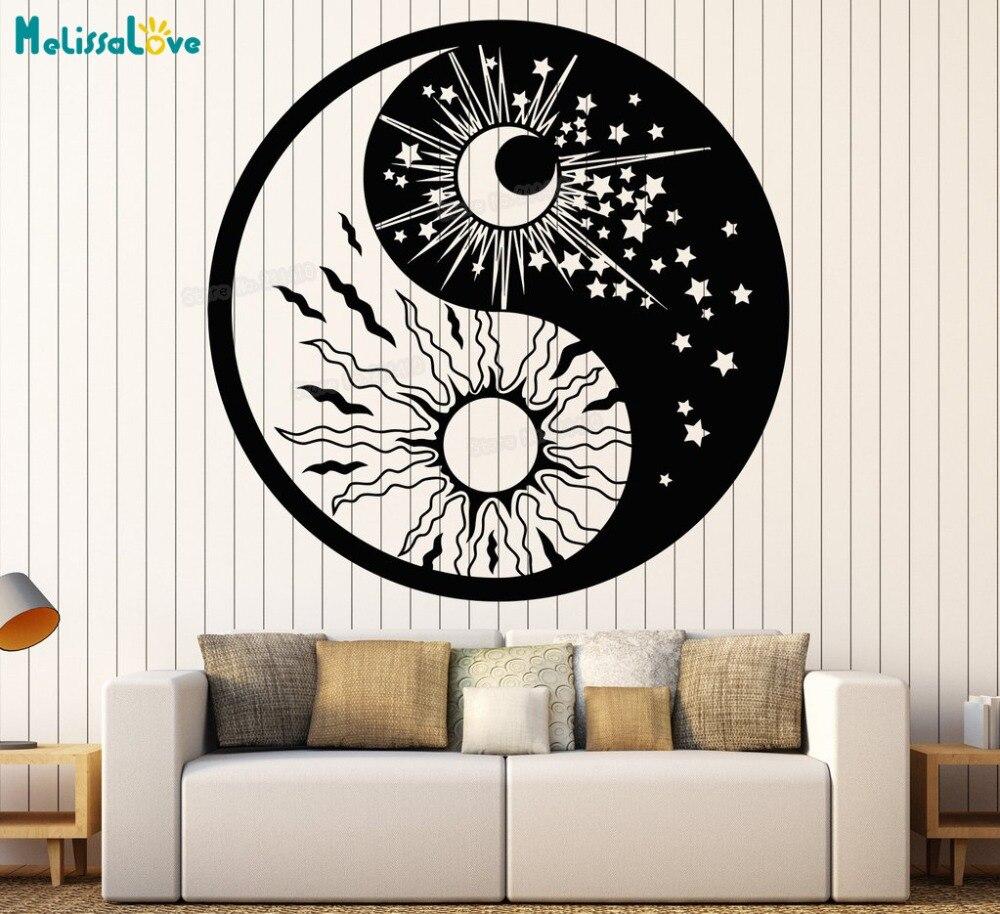 Decalque da parede de vinil yin yang símbolo sol lua budismo estrelas dia noite adesivos de parede decoração para casa sala estar arte presente exclusivo yy720