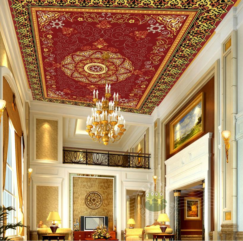 Fashion 3D Ceiling Mural Wallpaper National circle Ceiling Photo Wallpapers For Bathroom 3D Ceiling Wallpaper