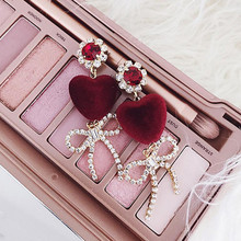 2017 Temperament Velvet Love Heart Earrings For Women Rhinestone Jewelry Sweety Bowknot Pendant Vintage Drop Earrings Brinco(China)