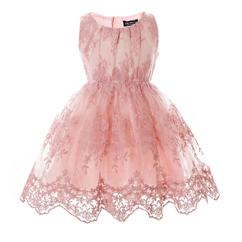 Summer Kids Girls Dress Children Floral Embroidery Lace Dresses Baby Casual Gown Frocks Wedding Party Prom