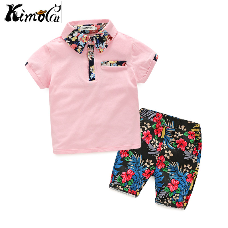 Kimocat Summer children clothing short-sleeved cotton boy suit for fashion boy's lapel shirt boys clothes