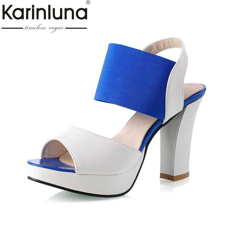 Karinluna 2018 büyük boy 30-46 Peep Toe platformu yaz ayakkabı kadın sandalet moda yüksek topuklu parti tarihi ayakkabı ayakkabı