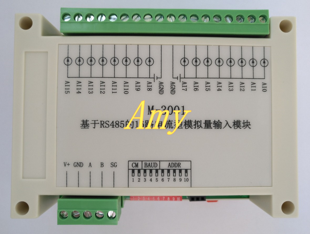16 way analog acquisition module with MODBUS-RTU protocol to support text / touch screen PLC configuration.16 way analog acquisition module with MODBUS-RTU protocol to support text / touch screen PLC configuration.
