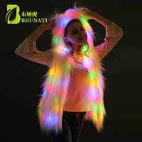 Autumn Winter New White Color LED Lights Hooded Faux Fur Vest Coat Jacket Halloween Christmas Party Stage vests
