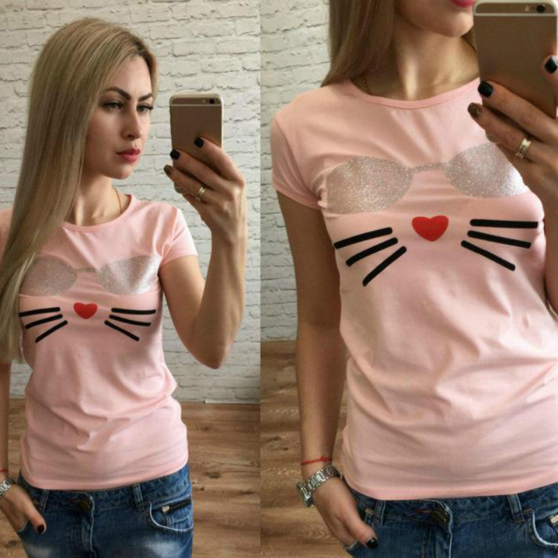 White Pink Black Tshirt Casual Tops Outfits Blue Pink Color Shirts Cotton T-Shirt Women Sexy Tumblr Graphic Tee