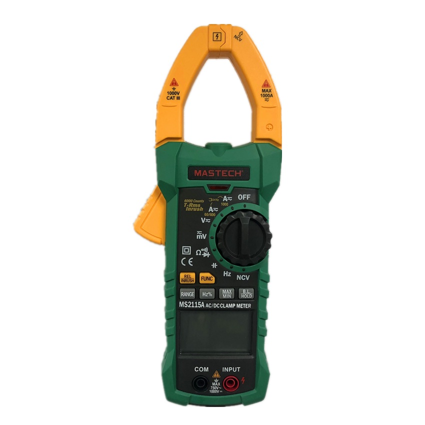 Mastech MS2115A 6000 Counts True RMS Digital Clamp Meter AC DC Voltage Current Tester with INRUSH
