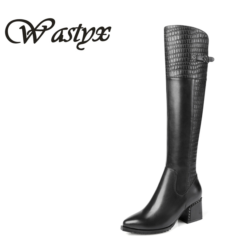 Wastyx new women boots fashion high heel Woman Warm Short Plush Side Zipper Knee High Boots Comfortable Square Heel Winter Shoes boots women high heel black crystal winter zipper shoes 2017 round toe square heel knee high short plush platform leather boots