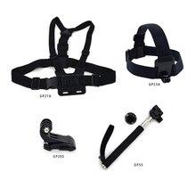 Gopro Kit Accessories Set Chest Harness+Head Strap+Monopod+J Buckle for Go pro hero 3 3+ 4 5 /SJCAM/SJ4000/XIAO MI camera GP-K45