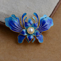 Filament blossom blue accessories S925 sterling silver, traditional Beijing craft handmade DIY pearl butterfly