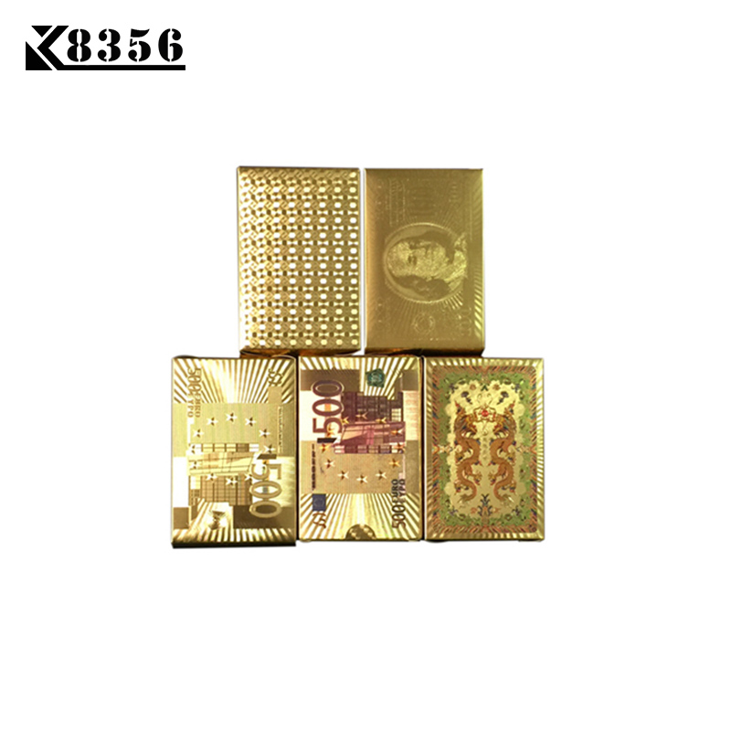 K8356 100Sets/Lot Wholesale Gold Foil Plated Texas Hold'em Plastic Playing Cards Waterproof Poker Card Board Game 2.48*3.46 inch