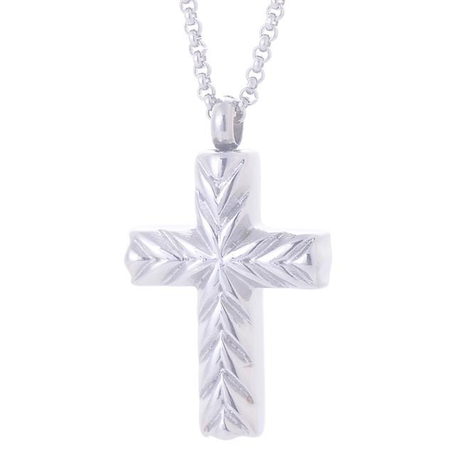 Aço inoxidável 316L cor prata cruz cremação urna pingente colar de jóias clássico lembranças urna de cinzas pingentes colares