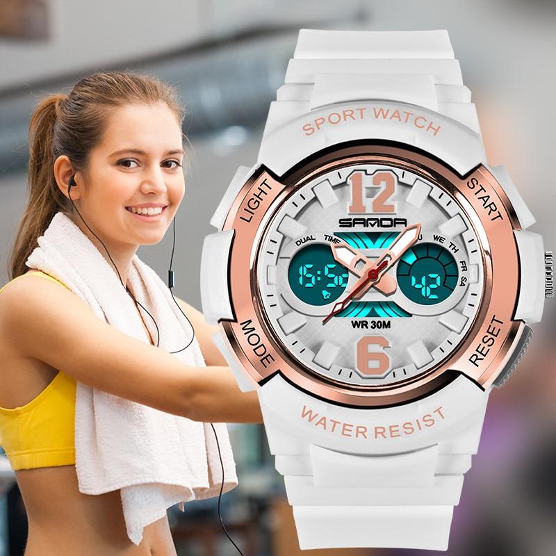 Digital Watch Women Fitness Resin Wrist Watch Lady LED White 30M Waterproof Electronic Sports Watch For Women